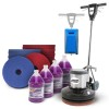 Hard floor scrubbing package with accessories