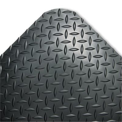 Black 24 x 36 Industrial Deck Plate Anti-Fatigue Mat