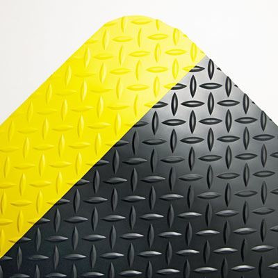 Black with Yellow Border 36 x 60 Industrial Deck Plate Anti-Fatigue Mat