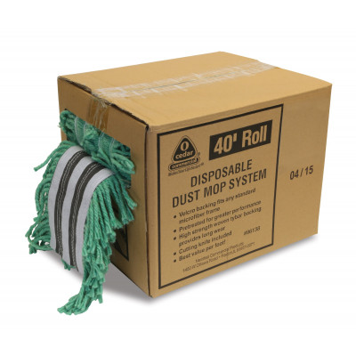 40' Green Disposable Dust Mop Roll with Velcro Backing