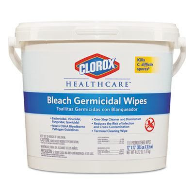 Case of Clorox Healthcare Bleach Germicidal Wipes Buckets
