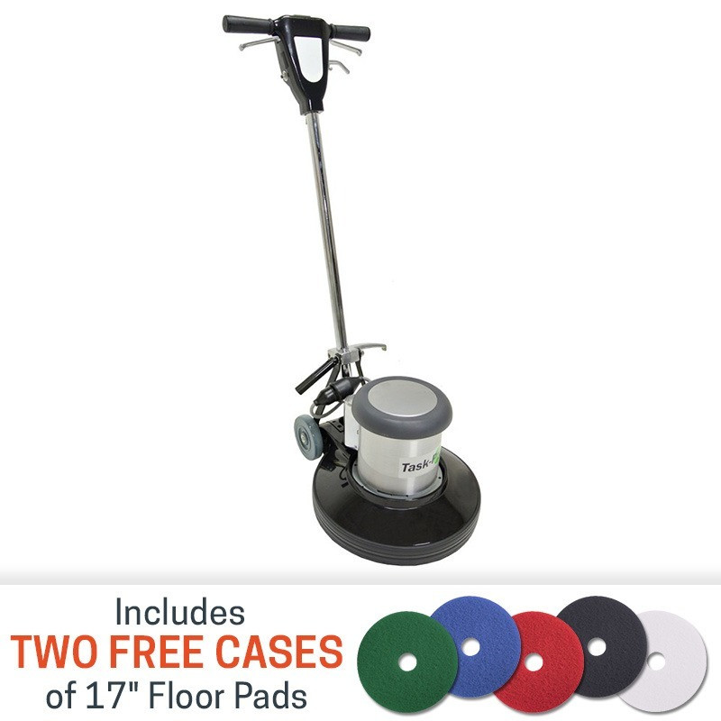 Task pro 17 inch 1 5 hp floor buffer with 2 free cases for Floor polisher