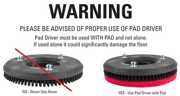 24 inch auto scrubber pad driver warning