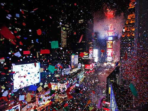 Confetti rains on Times Square