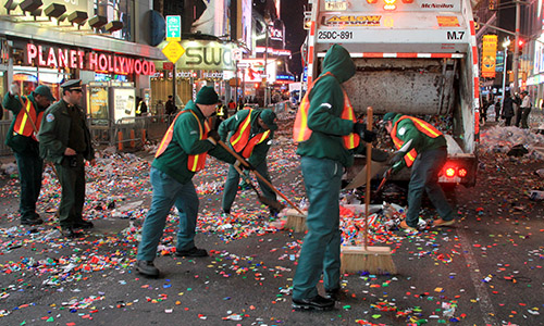 Sweeping streets after Times Square ball drop