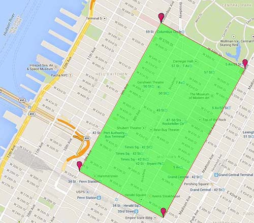 Map of New York City Department of Sanitation's cleaning coverage area on New Year's