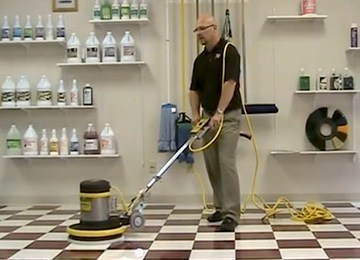 Floor Buffer Scrubbing - How to clean marley floor
