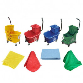 Color Coded Facility Cleaning Package (Mop Buckets & Microfiber Rags)
