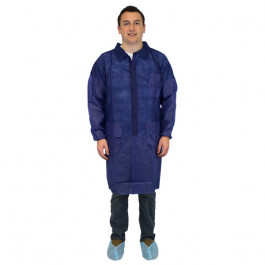 Polypropylene Disposable Blue Lab Coats (M - 4XL Sizes Available) - Case of 30