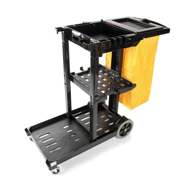 O-Cedar 3 Shelf Janitor Cleaning Cart - Black