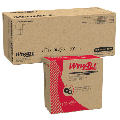 """Wypall® Oil, Grease & Ink Blue Cloth Wipers (16.8"""" x 8.8"""" 