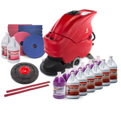 """Advantage 20"""" Battery Powered Auto Scrubber Floor Prep for Polishing Package"""