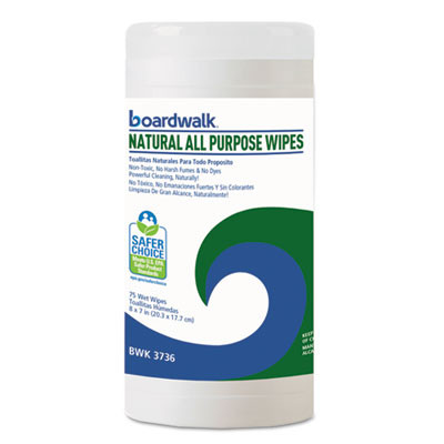 Natural All Purpose Wipes, 7 X 8, Unscented, 75/canister