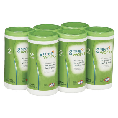 Compostable Cleaning Wipes, 7 X 7 1/2, Original Scent, 62/canister, 6/carton