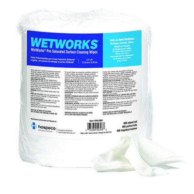 """Hospeco® WetWorks® Pre-Saturated Hospital Grade Quaternary Surface Wipes (8.4"""" x 6"""" 