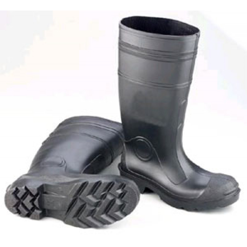 Steel Toe Knee High Waterproof Boots Black