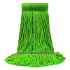 "MaxiClean® Cotton & Synthetic Blend Green Wet Mop w/ 5"" Wide Band (Size: Medium) - Looped End"