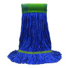 "MaxiClean® Cotton & Synthetic Blend Blue Wet Mop w/ 5"" Wide Band (Size: Medium) - Looped End"