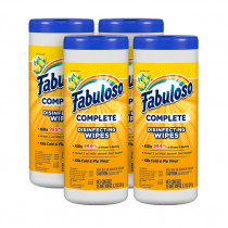 Fabuloso® Complete Lemon Scent Disinfectant Wipes (7 x 8 inch | 90 Wipe Canisters) - Case of 4