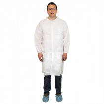 Polypropylene Disposable Lab Coat - White