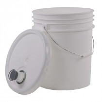 White 5 Gallon Pail w/ Lid & Flex Pour Spout