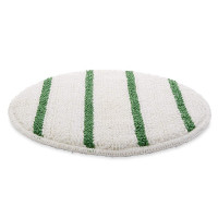 "17"" White Carpet Scrubbing Bonnet w/ Green Agitation Stripes"