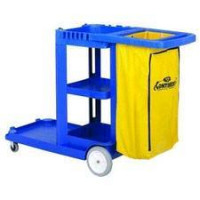 Continental 3-Shelf Janitorial & Cleaning Cart w/ Reuseable Vinyl Bag