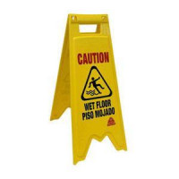Yellow 2-Sided Wet Floor Sign (Bilingual)